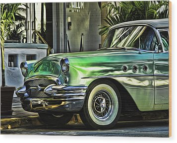 Green Buick Wood Print
