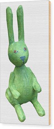 Green Bunny Wood Print by Maria Rosa