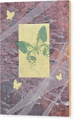 Green Butterfly Wood Print by Jennifer Bonset