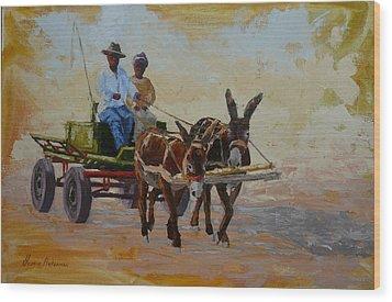 Green Cart Wood Print by Yvonne Ankerman