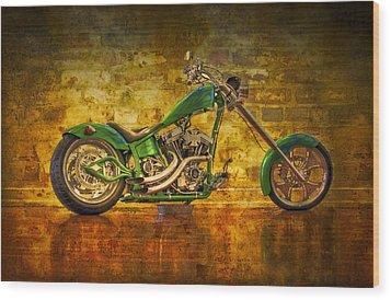 Green Chopper Wood Print by Debra and Dave Vanderlaan