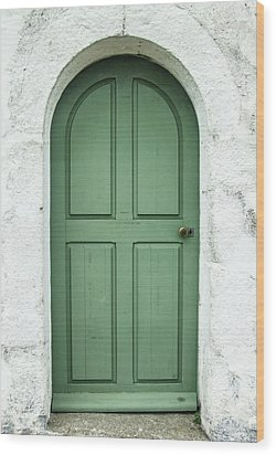 Green Church Door Iv Wood Print by Helen Northcott