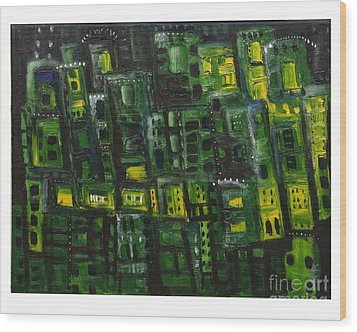 Green Cities Wood Print by Maria Curcic