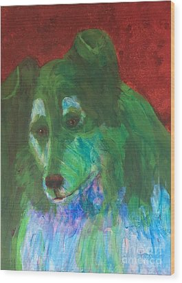 Wood Print featuring the painting Green Collie by Donald J Ryker III