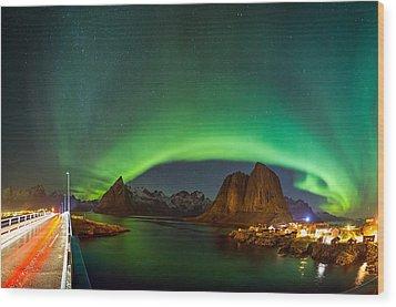 Green Curtains Wood Print by Alex Conu
