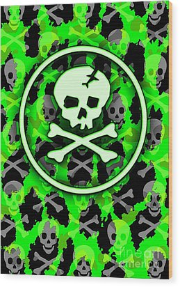 Green Deathrock Skull Wood Print by Roseanne Jones