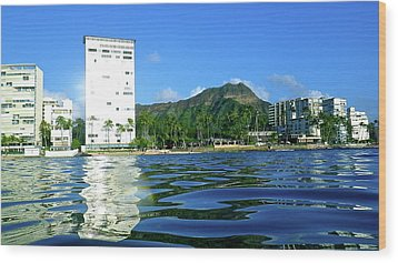 Green Diamond Head From The Water Wood Print by Erika Swartzkopf