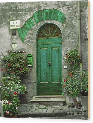 Green Door Wood Print by Karen Lewis