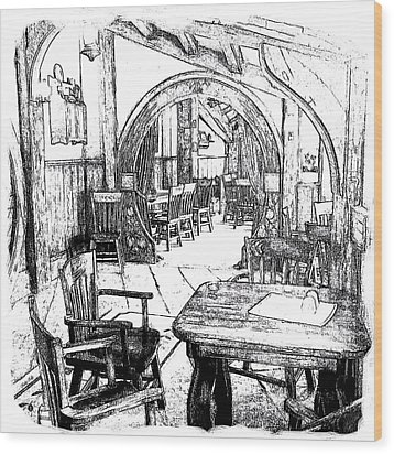 Wood Print featuring the drawing Green Dragon Inn Nook by Kathy Kelly