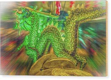 Green Dragon Wood Print by Mark Dunton
