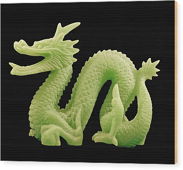 Green Dragon On Black Wood Print by Bill Barber