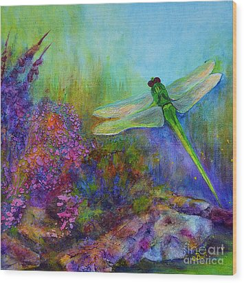 Green Dragonfly Wood Print by Claire Bull