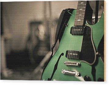 Green Electric Guitar With Blurry Background Wood Print by Sean Molin - www.seanmolin.com