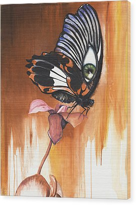 Green Eye Butterfly Wood Print by Anthony Burks Sr