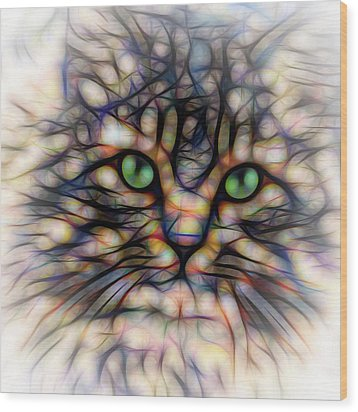 Wood Print featuring the digital art Green Eye Kitty Square by Terry DeLuco