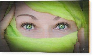 Green-eyed Girl Wood Print