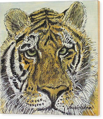 Green Eyed Tiger Wood Print