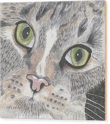Wood Print featuring the drawing Green Eyes by Arlene Crafton