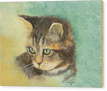 Green Eyes Wood Print by Terry Webb Harshman