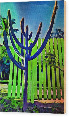 Green Fence Wood Print