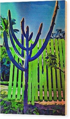 Green Fence Wood Print