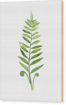Green Fern Watercolor Art Print Painting Wood Print by Joanna Szmerdt