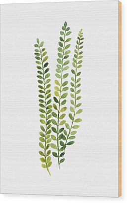 Green Fern Watercolor Minimalist Painting Wood Print by Joanna Szmerdt