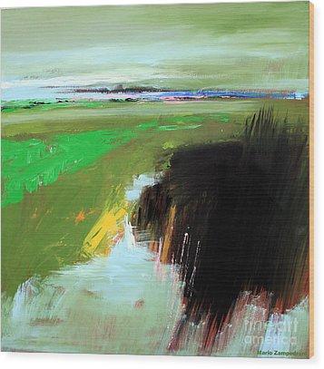 Green Field Wood Print by Mario Zampedroni