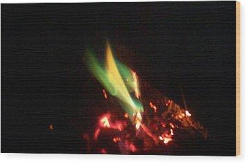 Green Fire Wood Print by Paula Ferguson