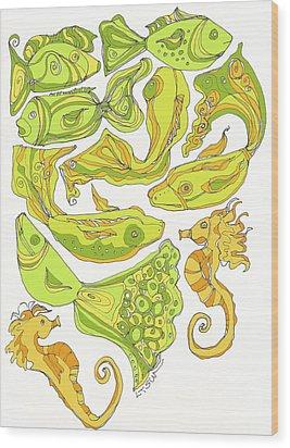 Green Fish Wood Print by Linda Kay Thomas