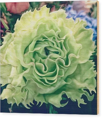 Wood Print featuring the photograph Green Flower by Linda Constant