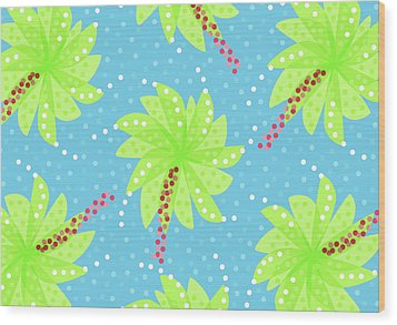 Green Flowers In The Wind Wood Print