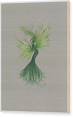 Wood Print featuring the drawing Green Garden Fae by Dawn Fairies