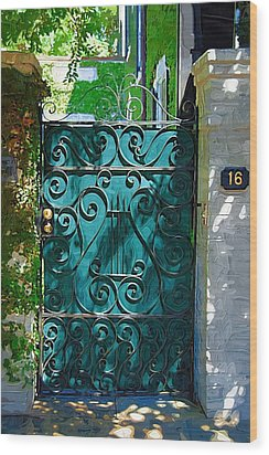 Green Gate Wood Print by Donna Bentley
