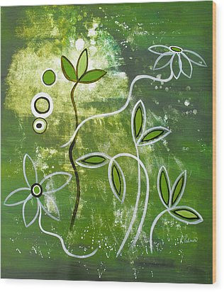 Green Growth Wood Print by Ruth Palmer