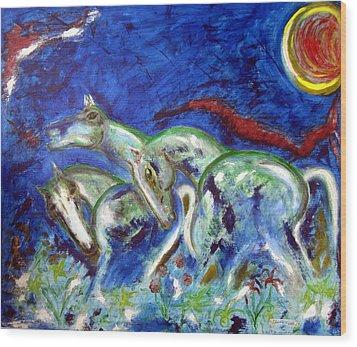 Green Horses Wood Print by Narayanan Ramachandran