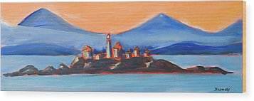 Wood Print featuring the painting Green Island Lighthouse by Yulia Kazansky