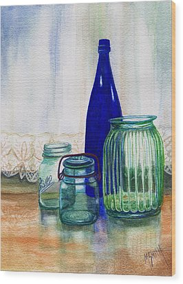 Wood Print featuring the painting Green Jars Still Life by Marilyn Smith