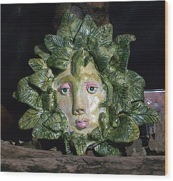 Green Lady Wood Print by Carolyn Cable
