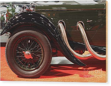 Green Lagonda Classic Car Front Side View Wood Print by Wingsdomain Art and Photography