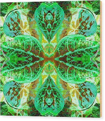 Green Leafmania 3 Wood Print by Marianne Dow