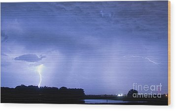 Green Lightning Bolt Ball And Blue Lightning Sky Wood Print by James BO  Insogna