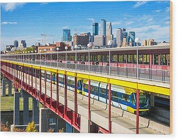 Green Line Light Rail In Minneapolis Wood Print by Jim Hughes