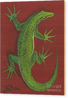 Green Lizard Wood Print by Anna Folkartanna Maciejewska-Dyba
