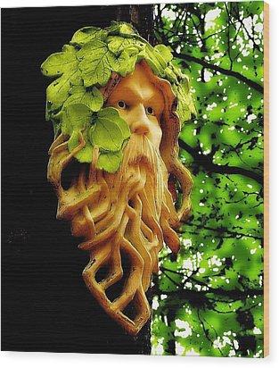 Green Man Wood Print by Jen White