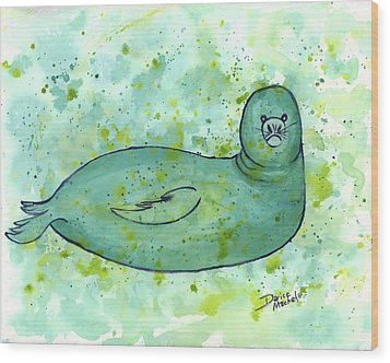 Wood Print featuring the painting Green Monk Seal by Darice Machel McGuire