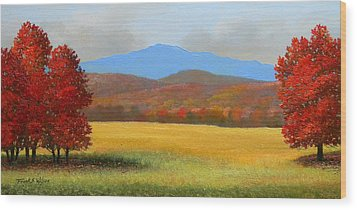 Green Mountain Landscape Wood Print by Frank Wilson