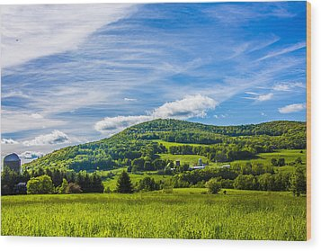 Wood Print featuring the photograph Green Mountains And Blue Skies Of The Catskills by Paula Porterfield-Izzo