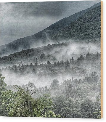 Green Mountains With Fog Wood Print by Penni D'Aulerio