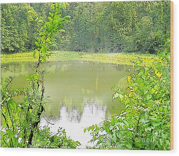 Green On Lake Wood Print